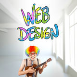 Composite image of geeky hipster in afro rainbow wig playing guitar. Geeky hipster in afro rainbow wig playing guitar against white room with windows Stock Image