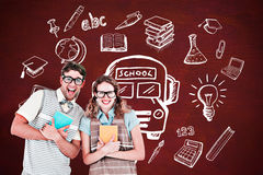 Composite image of geeky hipster couple holding books and smiling at camera Royalty Free Stock Images