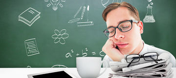 Composite image of geeky hipster falling asleep on hand Stock Images