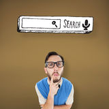 Composite image of geeky hipster looking confused at camera Royalty Free Stock Images