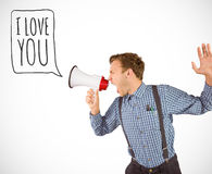 Composite image of geeky hipster shouting through megaphone Royalty Free Stock Photos