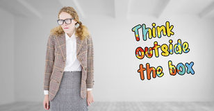 Composite image of geeky hipster woman looking nervous Stock Images