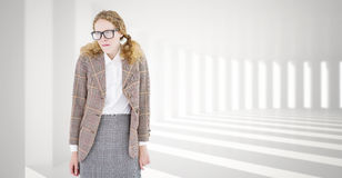 Composite image of geeky hipster woman looking nervous Royalty Free Stock Photos