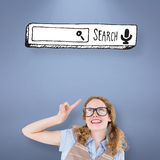 Composite image of geeky hipster woman pointing up Stock Photography