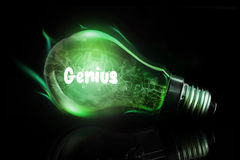Composite image of genius. Genius against glowing light bulb Stock Photo
