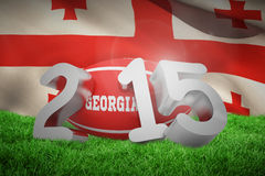 Composite image of georgia rugby 2015 message. Georgia rugby 2015 message  against flag of georgia Royalty Free Stock Photos