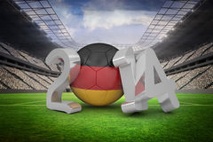 Composite image of germany world cup 2014. Germany world cup 2014 against vast football stadium with fans in white Royalty Free Stock Photography