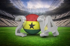 Composite image of ghana world cup 2014 message. Ghana world cup 2014 message against vast football stadium with fans in white Stock Photos