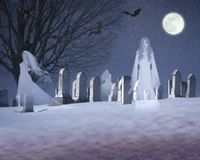 Composite image of ghosts and bats under a full moon in a snowy cemetery, VT Royalty Free Stock Photo
