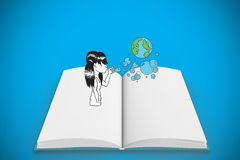 Composite image of girl blowing earth bubbles on open book Stock Photography