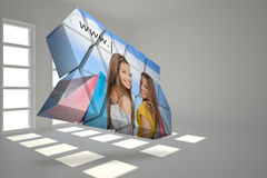 Composite image of girls shopping on abstract screen Royalty Free Stock Images