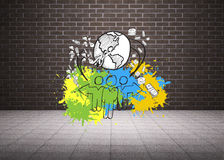 Composite image of global community concept on paint splashes Royalty Free Stock Images