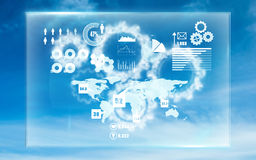 Composite image of global technology background. Global technology background against white cogs in the sky royalty free illustration
