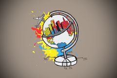 Composite image of global tourism concept on paint splashes Stock Photography