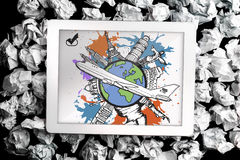 Composite image of global tourism concept on paint splashes Royalty Free Stock Photo