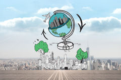 Composite image of global travel doodle over cityscape Stock Photo