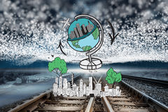 Composite image of global travel doodle over cityscape Royalty Free Stock Photos