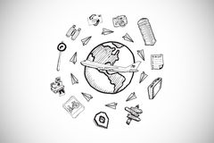 Composite image of global travel doodles Royalty Free Stock Photography