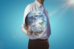 Composite image of globe of earth 3d. Globe of earth against blue vignette background 3d royalty free stock image