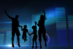 Composite image of glowing blue bar chart on black background Royalty Free Stock Photo