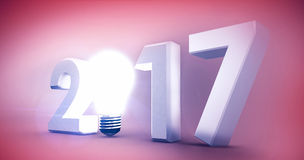 Composite image of 2017 with glowing light bulb over white background. 2017 with glowing light bulb over white background against orange background stock illustration