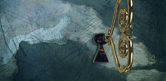 Composite image of golden heart key. Golden heart key against rusty weathered wall Stock Images