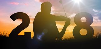 Composite image of golfer hit the golf ball Royalty Free Stock Images
