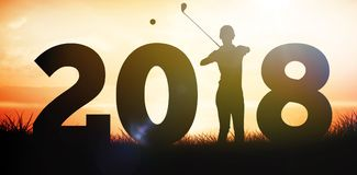 Composite image of golfer standing and waiting with stick in hands Royalty Free Stock Photo