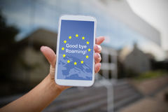 Composite image of good bye roaming text on european union flag Royalty Free Stock Image