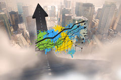 Composite image of graph and arrows on paint splashes Royalty Free Stock Photos