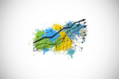 Composite image of graph and arrows on paint splashes Royalty Free Stock Images