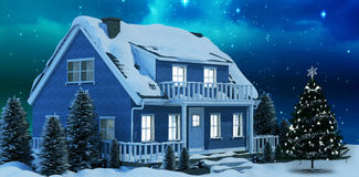Composite image of graphic christmas tree. Graphic christmas tree against starry sky over fir trees stock illustration