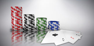 Composite image of graphic 3d image of gambling chips. Graphic 3D image of gambling chips against grey background stock illustration
