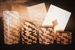 Composite image of graphic 3d image of gambling chips. Graphic 3D image of gambling chips against splashing of blue color powder stock illustration