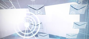 Composite image of graphic of envelopes on white background vector illustration