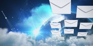 Composite image of graphic of envelopes on white background. Graphic of Envelopes on white background against earth seen from space Stock Image