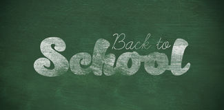 Composite image of graphic image of back to school text. Graphic image of back to school text against green background Royalty Free Stock Images