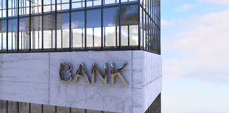 Composite image of graphic image of bank building. 3d Graphic image of bank building against view of blue sky and cloud Stock Image