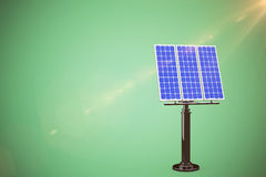 Composite image of graphic image of 3d blue solar panel. Graphic image of 3D blue solar panel against green background Stock Image