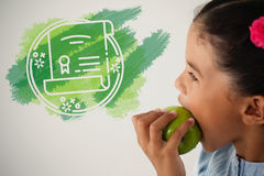 Composite image of graphic image of degree. Graphic image of degree against schoolgirl eating apple against white background Stock Photos