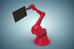 Composite image of graphic image of digital tablet held by red robot 3d Stock Photo