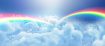 Composite image of graphic image of double rainbow Stock Image