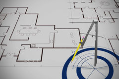 Composite image of graphic image of drawing compass with pencil. Graphic image of drawing compass with pencil against blue Royalty Free Stock Photos