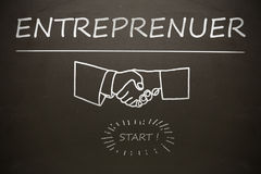 Composite image of graphic image of entrepreneur text over cropped hands stock illustration