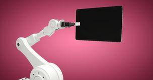 Composite image of graphic image of robot holding digital tablet 3d Stock Images