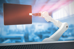 Composite image of graphic image of robot holding digital tablet 3d Royalty Free Stock Images