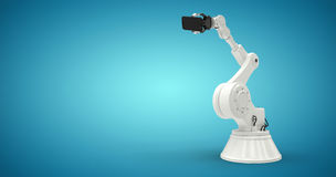 Composite image of graphic image of robot holding smart phone 3d Royalty Free Stock Photo