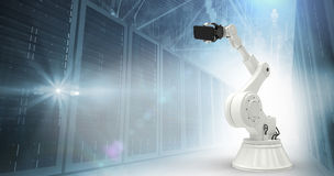 Composite image of graphic image of robot holding smart phone 3d Royalty Free Stock Photography