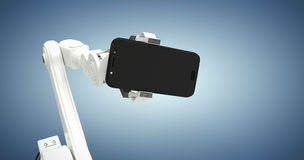 Composite image of graphic image of robot showing smart phone 3d Royalty Free Stock Image
