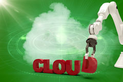Composite image of graphic image of robotic arm framing cloud text 3d Royalty Free Stock Photos